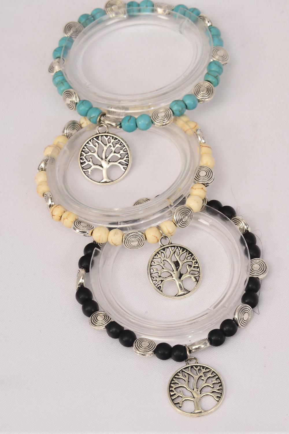Bracelet Stretch 10 mm Semiprecious Stone Tree of Life/DZ **Stretch** 4 Black,4 Ivory,4 Turquoise Asst,Hang Tag & OPP Bag & UPC Code