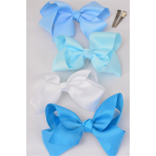 "Hair Bow Large Blue Mix Grosgrain Fabric Bow-tie 4""x 3"" Wide Alligator Clip/DZ **Blue Mix** Alligator Clip,Size-4""x 3"" Wide,3 of each Color Asst,Display Card & UPC Code,W Clear Box -"
