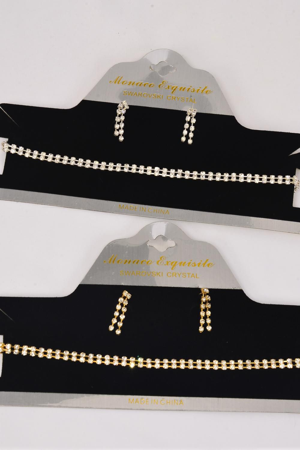 "Necklace Sets Choker Double Line Rhinestones/Sets **Post** Size-13.5"" W Extension Chain,Choose Gold Or Silver Finishes,Display Card & OPP bag & UPC Code -"