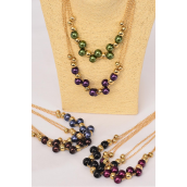 "Necklace Sets Gold Chain 14 mm Pearl Beads/DZ **Dark Multi** Size-18"" long,2 Black,2 Brown,2 Burgundy,2 Purple,2 Gray,1 Green,1 Navy,7 Color Mix,Hang Tag & OPP Bag & UPC code -"