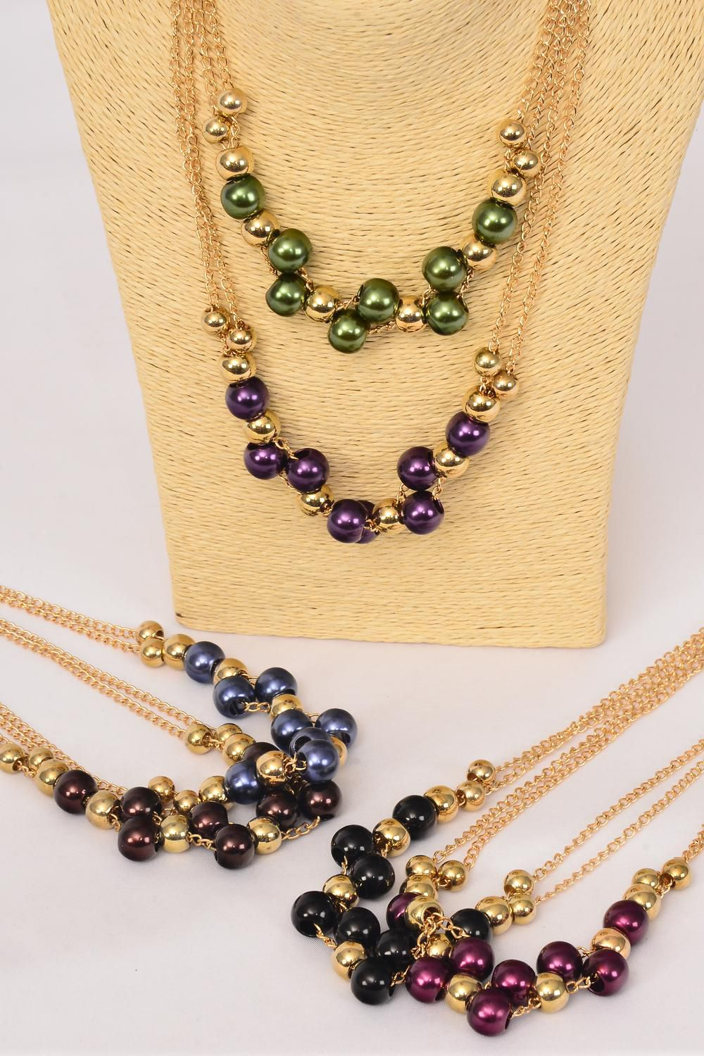 Necklace Sets Gold Chain 14 mm Pearl Beads/DZ **Dark Multi** Size ...