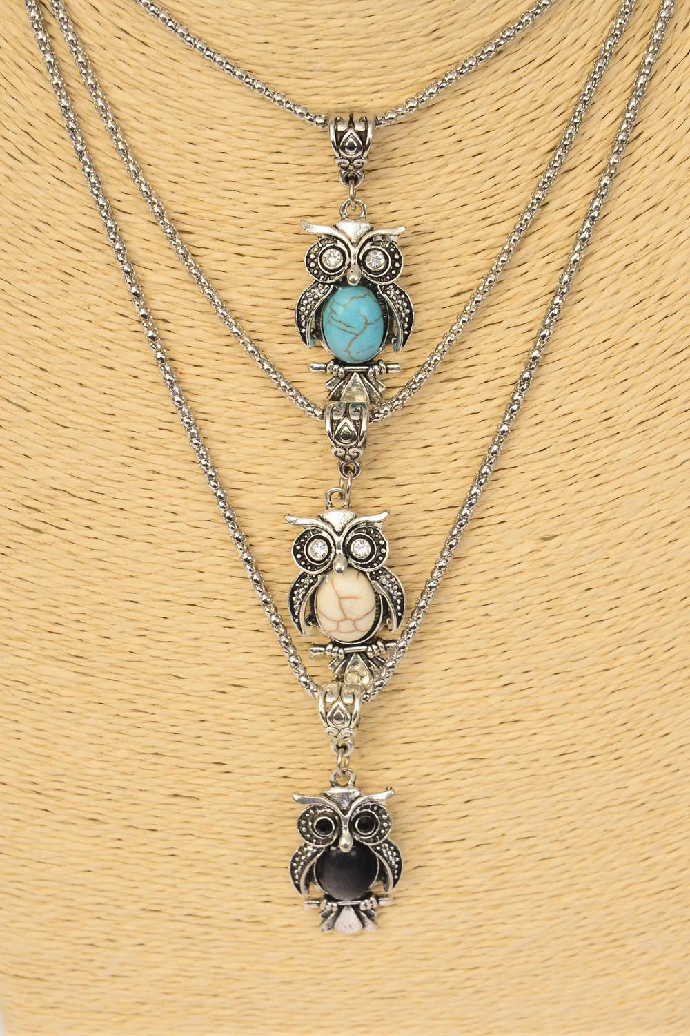"Necklace Silver Chain Owl Semiprecious Stone/DZ match 02661 Pendant-1.5""x 0.75"" Wide,Chain-18"" Extension Chain,4 Ivory,4 Black,4 Turquoise Asst,Hang Tag & OPP Bag & UPC Code"