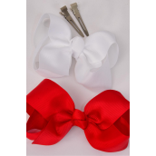 "Hair Bow Large 4""x 3"" Wide Red & White Mix Grosgrain Bow-tie/DZ **Red & White Mix** Alligator Clip,Size-4""x 3"" Wide,6 of each Color Asst,Clip Strip & UPC Code"