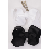 "Hair Bow Large 4""x 3"" Wide Black & White Mix Alligator Grosgrain Bow-tie/DZ **Black & White Mix** Alligator Clip,Size-4""x 3"" Wide,6 of each Color Asst,Clip Strip & UPC Code"
