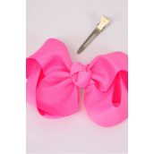 "Hair Bow Large 4""x 3"" Wide Hot Pink Grosgrain Bow-tie/DZ **Hot Pink** Alligator Clip,Size-4""x 3"" Wide,Clip Strip & UPC Code"