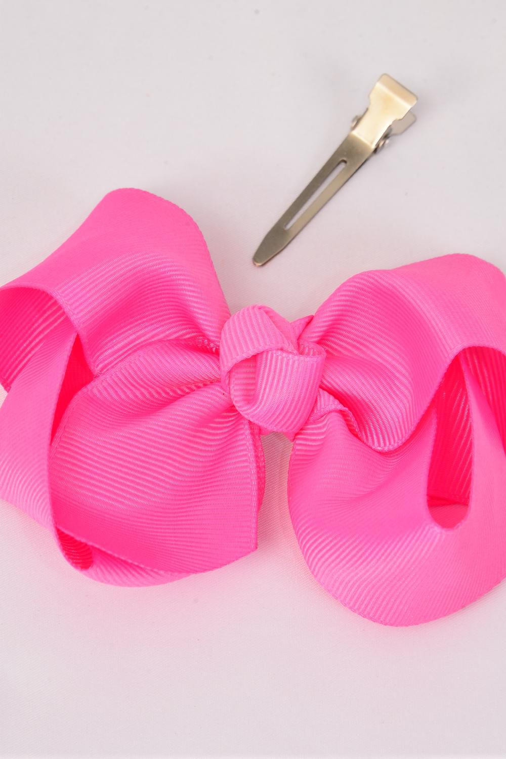 "Hair Bow Large 4""x 3"" Wide Hot Pink Alligator Grosgrain Bow-tie/DZ **Hot Pink** Alligator Clip,Size-4""x 3"" Wide,Clip Strip & UPC Code"