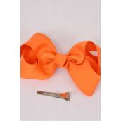 "Hair Bow Large 4""x 3"" Wide Orange Alligator Clip Grosgrain Bow-tie/DZ **Orange** Alligator Clip,Size-4""x 3"" Wide,Clip Strip & UPC Code"