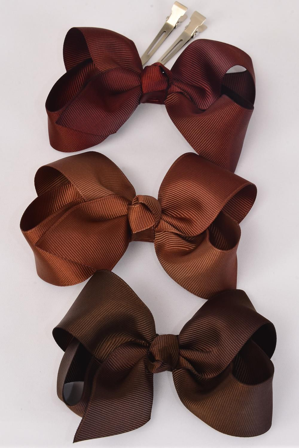 "Hair Bow Large 4""x3"" Wide Brown tone Mix Alligator Clip Grosgrain Bow-tie/DZ **Brown Tone** Alligator Clip,Size-4""x 3"" Wide,4 of each Color Asst,Clip Strip & UPC Code"