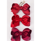 "Hair Bow Large 4""x 3"" Wide Burgundy MIx Alligator Clip Grosgrain Bow-tie/DZ **Burgundy Mix** Alligator Clip,Size-4""x 3"" Wide,4 of each Color Asst,Clip Strip & UPC Code"