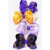 "Hair Bow Extra Jumbo Fleur Delis Purple & Yellow Mix Alligator Clip Grosgrain Bow-tie/DZ **Alligator Clip** Size-6""x 5"",3 of each Color Asst,Clip Strip & UPC Code"
