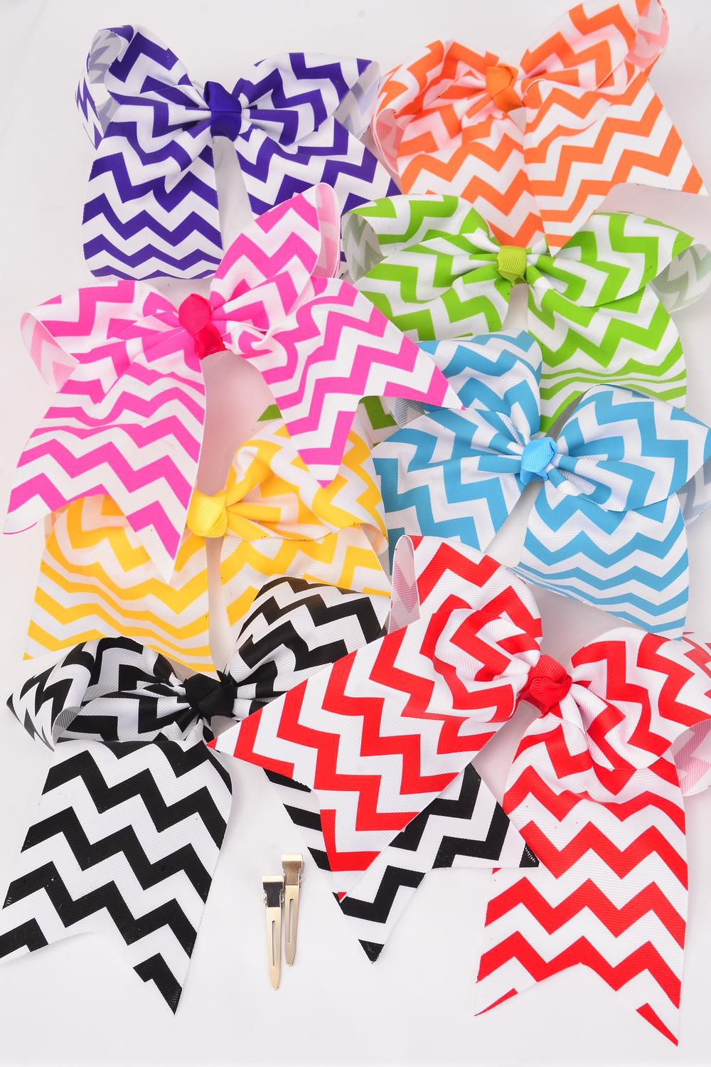 "Hair Bow Extra Jumbo Cheer Bow Type Chevron Long Tail Alligator Clip Grosgrain Bow-tie/DZ **Multi** Alligator Clip,Size-6.5""x 6"",2 White,2 Blue,2 Fuchsia,2 Red,1 Yellow,1 Purple,1 Lime,1 Orange Mix,Clip Strip & UPC Code"