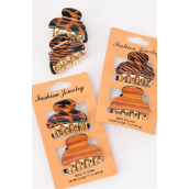 "Jaw Clip 24 pcs 4 cm Zebra & Leopard & Black Asst/DZ **Jaw Clip** Size-1.5""x 1"" Wide,6 of each Color Asst,Hang Card & Individual OPP Bag & UPC Code,2 pcs per Card,12 Card=Dozen"
