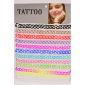 "Necklace Choker Multi Gothic Tattoo Henna Necklace/DZ **Stretch** Size-14"" ,Pr Color Asst,Display Card & OPP Bag & UPC Code"