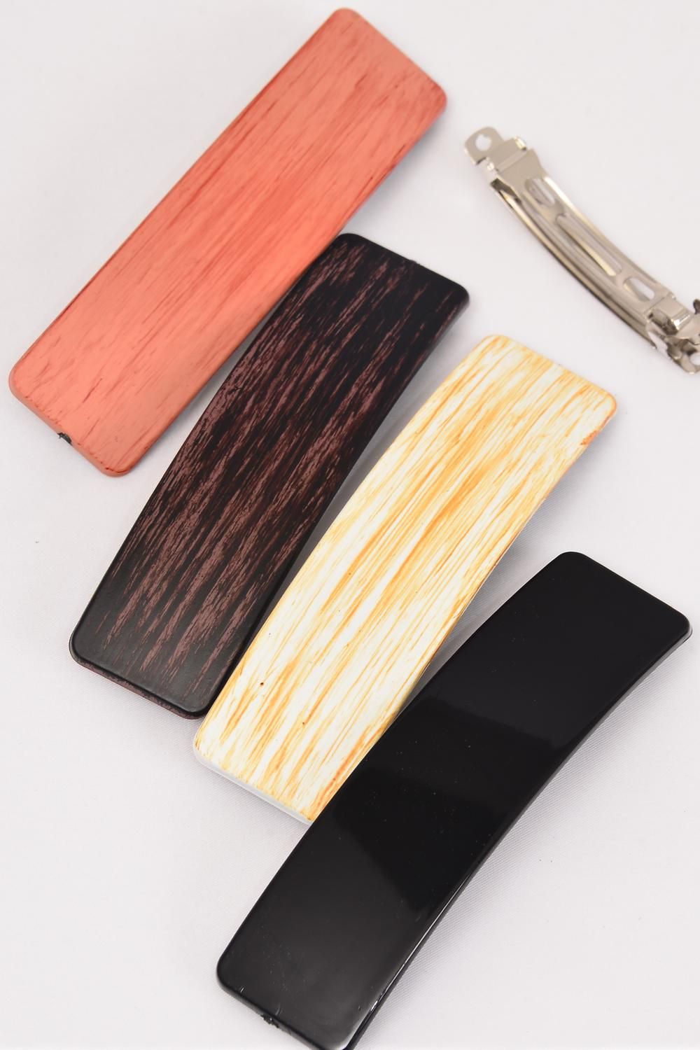 Hair Clip 11.5 cm Fall Wood Finish/DZ **French Clip** Size-11.5 cm x 3 cm Wide,3 of each Color Asst,Hang Card & Individual OPP Bag & UPC Code