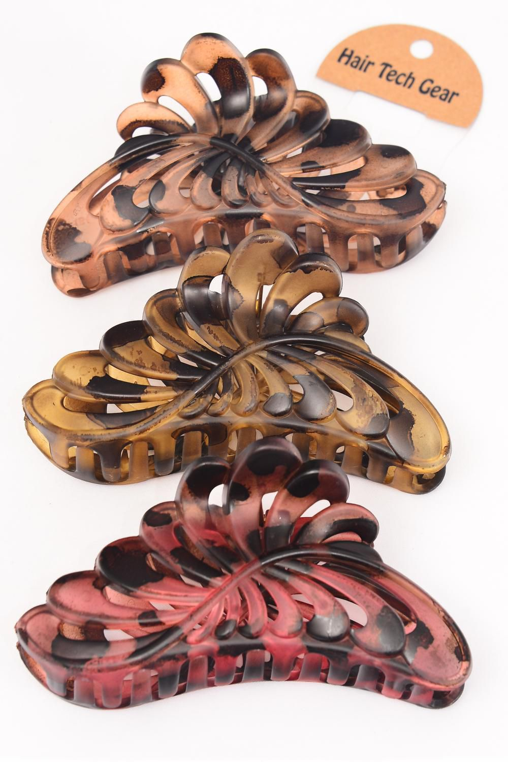 Jaw Clip Acrylic Leaf Tortoise 14 cm Wide Leopard Print/DZ Size-14 cm Wide,4 of each Color Mix,Hang Tag & OPP Bag & UPC Code