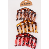 Jaw Clip Acrylic 10 cm Wide Tortoise Leopard Color Mix/DZ Size-10 cm Wide,4 of each Color Mix,Hang Tag & OPP Bag & UPC Code