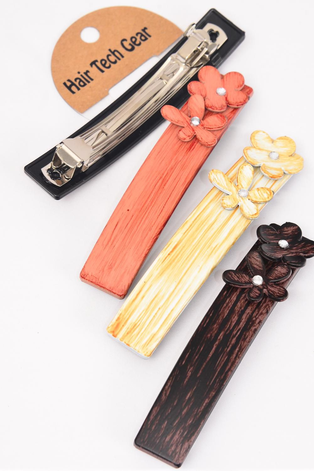 "Hair Clip Fall Wood Finish Flowers/DZ **French Clip** Size-4.5""x 0.75"" Wide,3 of each Color Asst,Hang Card & Individual OPP Bag & UPC Code"
