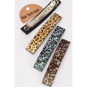 "Hair Clip 11.5 cm x 2 cm wide Leopard Print/DZ **French Clip** Size-4.5""x 0.75"" Wide,4 of each Color Asst,Hang Card & Individual OPP Bag & UPC Code"