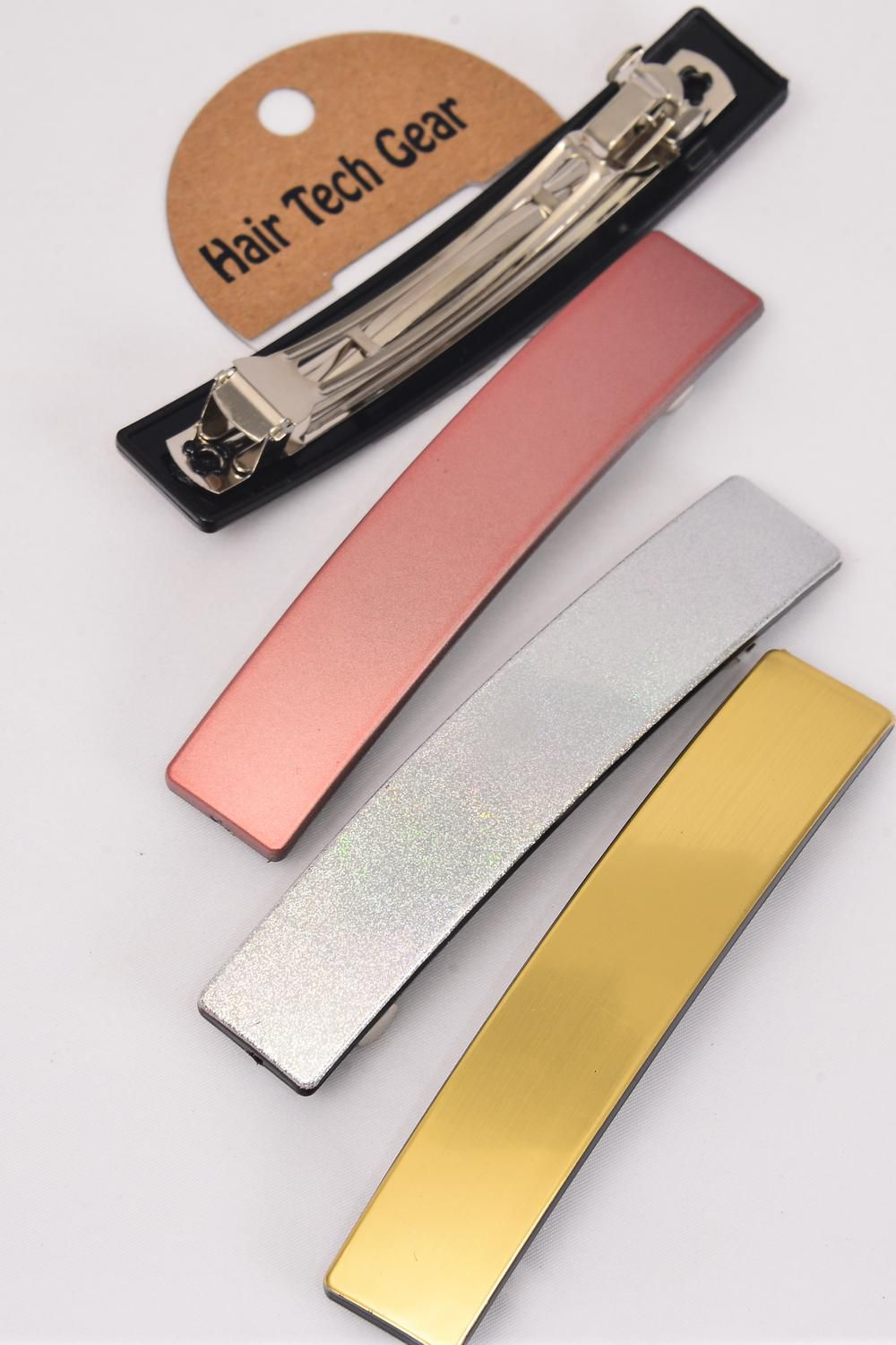 "Hair Clip 11.5 cm x 2 cm Wide Gold Silver Pink Asst/DZ **French Clip** Size-4.5""x 0.75"" Wide,4 of each Color Asst,Hang Card & Individual OPP Bag & UPC Code"