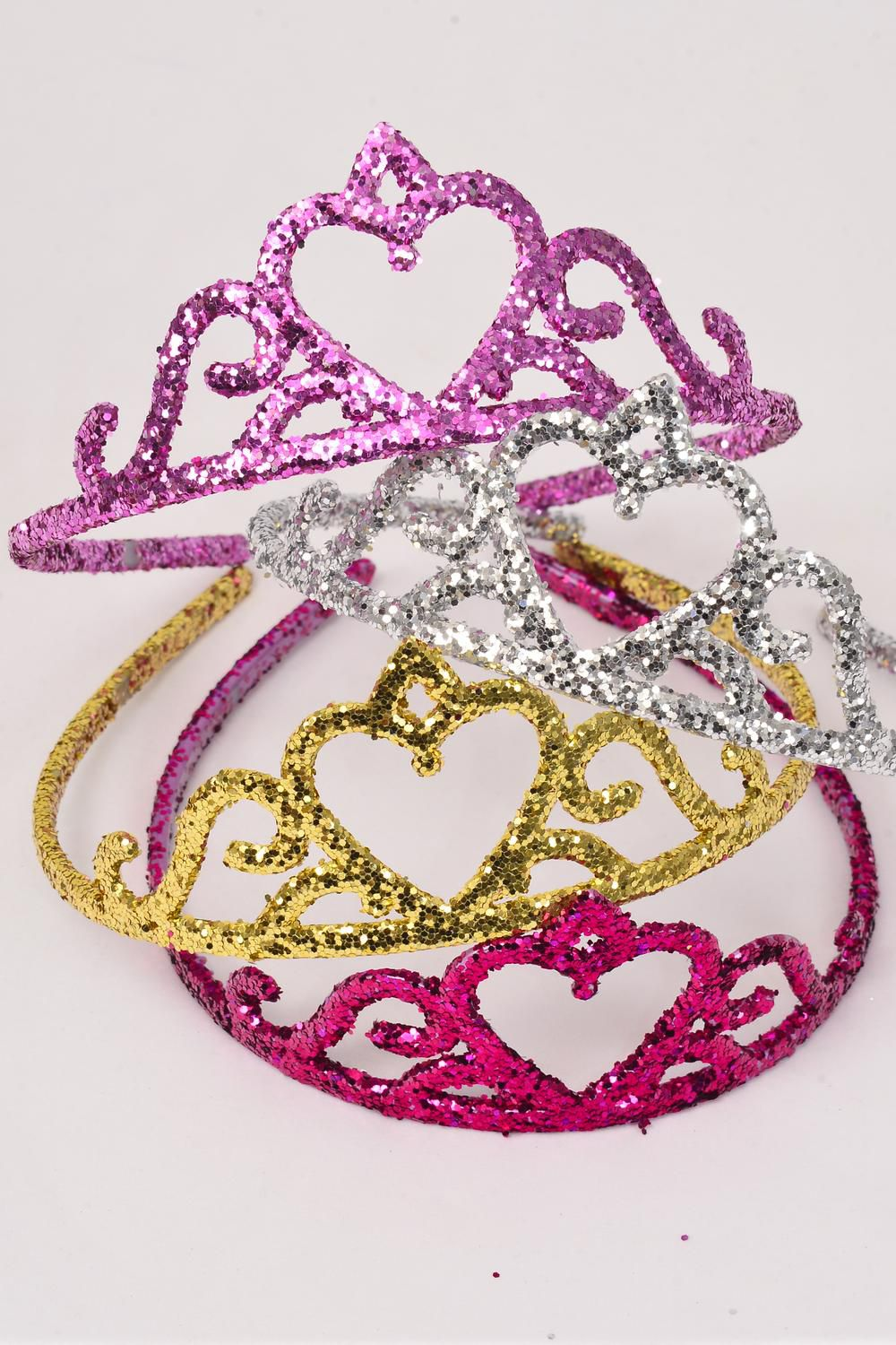 "Headband Tiara Acrylic Glitter Color Asst/DZ Tiara Size-5""x 2"" Wide,3 of each Color Asst,Hang Tag & Individual Opp Bag & UPC Code"