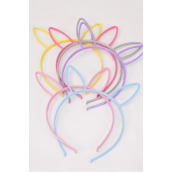 Headband Horseshoe Acrylic Metallic  Bunny Ear Metallic Pastel/DZ **Pastel** 2 Of Each Color Asst,Individual OPP Bag & Hang Tag & UPC Code