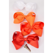 "Hair Bow Large Orange Grosgrain Fabric Bow-tie 4""x 3"" Wide Alligator Clip/DZ **Orange** Alligator Clip,Size-4""x 3"" Wide,Display Card & UPC Code,W Clear Box,Choose Colors"