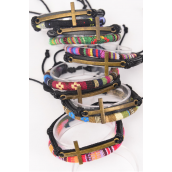 Bracelet Leather Cross & Macrame Wrap Mix Adjustable **Unisex** Adjustable,2 of each Color Mix,Individual Hang tag & OPP Bag & UPC Code