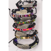 Bracelet Leather Wing & Macrame Wrap Mix Adjustable/DZ **Unisex** Adjustable,2 of each Color Mix,Individual Hang tag & OPP Bag & UPC Code