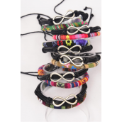 Bracelet Macrame Wrap Infinity/DZ **Unisex** Adjustable,2 of each Color Mix,Individual Hang tag & OPP Bag & UPC Code