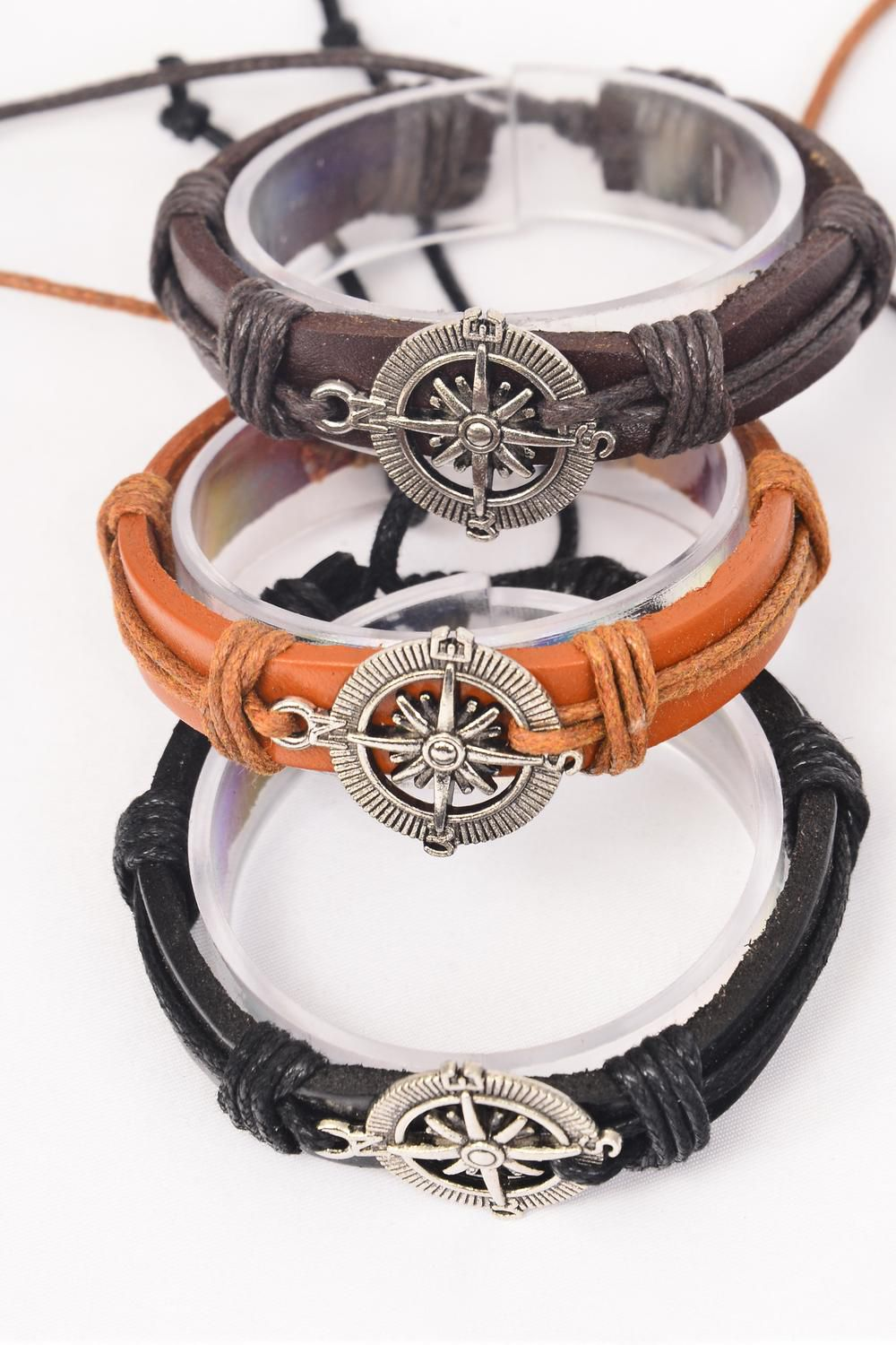 Bracelet Real Leather Band Compass Adjustable/DZ **Unisex** Adjustable,4 of each Color Mix,Hang tag & OPP Bag & UPC Code