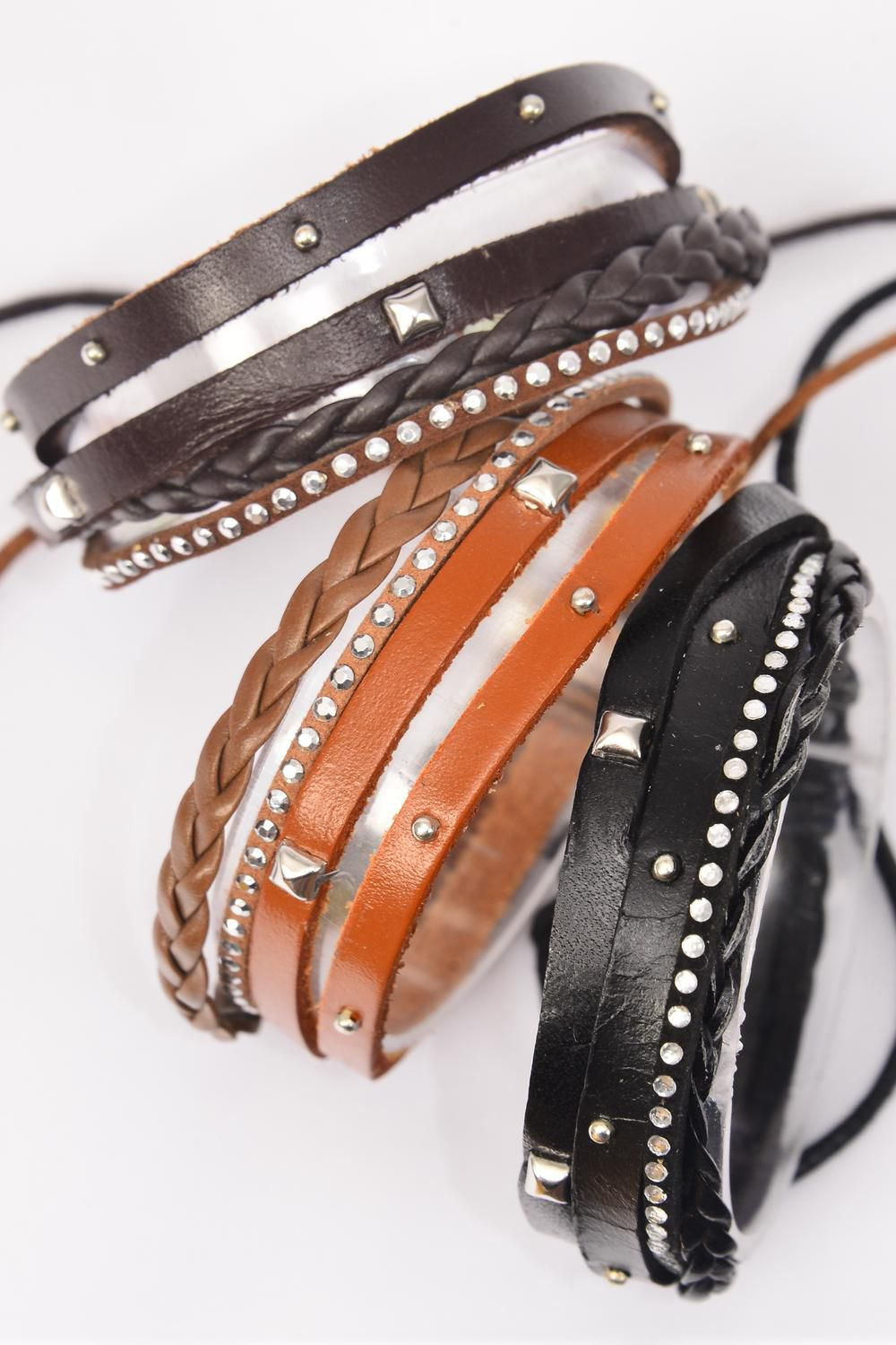 Bracelet Real Leather 4 Strand Studs Adjustable/DZ **Unisex** Adjustable,4 of each Color Mix,Individual Hang tag & OPP Bag & UPC Code