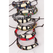 Bracelet Leather Double Strand Tusk & Macrame Wrap Mix Adjustable/DZ **Unisex** Adjustable,2 of each Color Mix,Individual Hang tag & OPP Bag & UPC Code