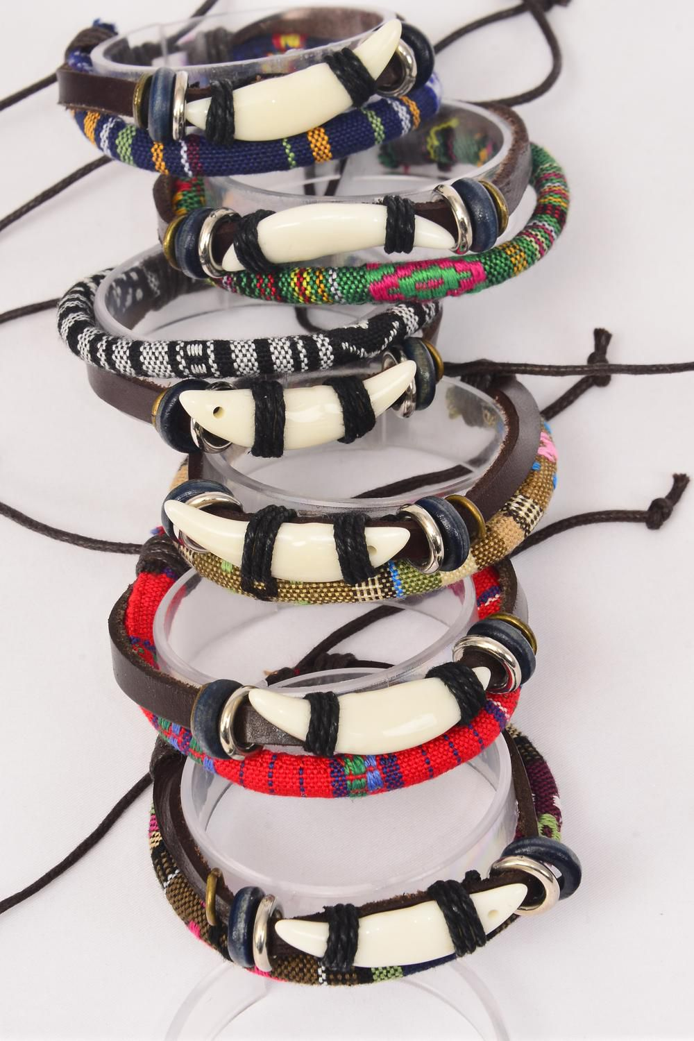 Bracelet Leather Tusk & Macrame Wrap Mix Adjustable **Unisex** Adjustable,2 of each Color Mix,Individual Hang tag & OPP Bag & UPC Code