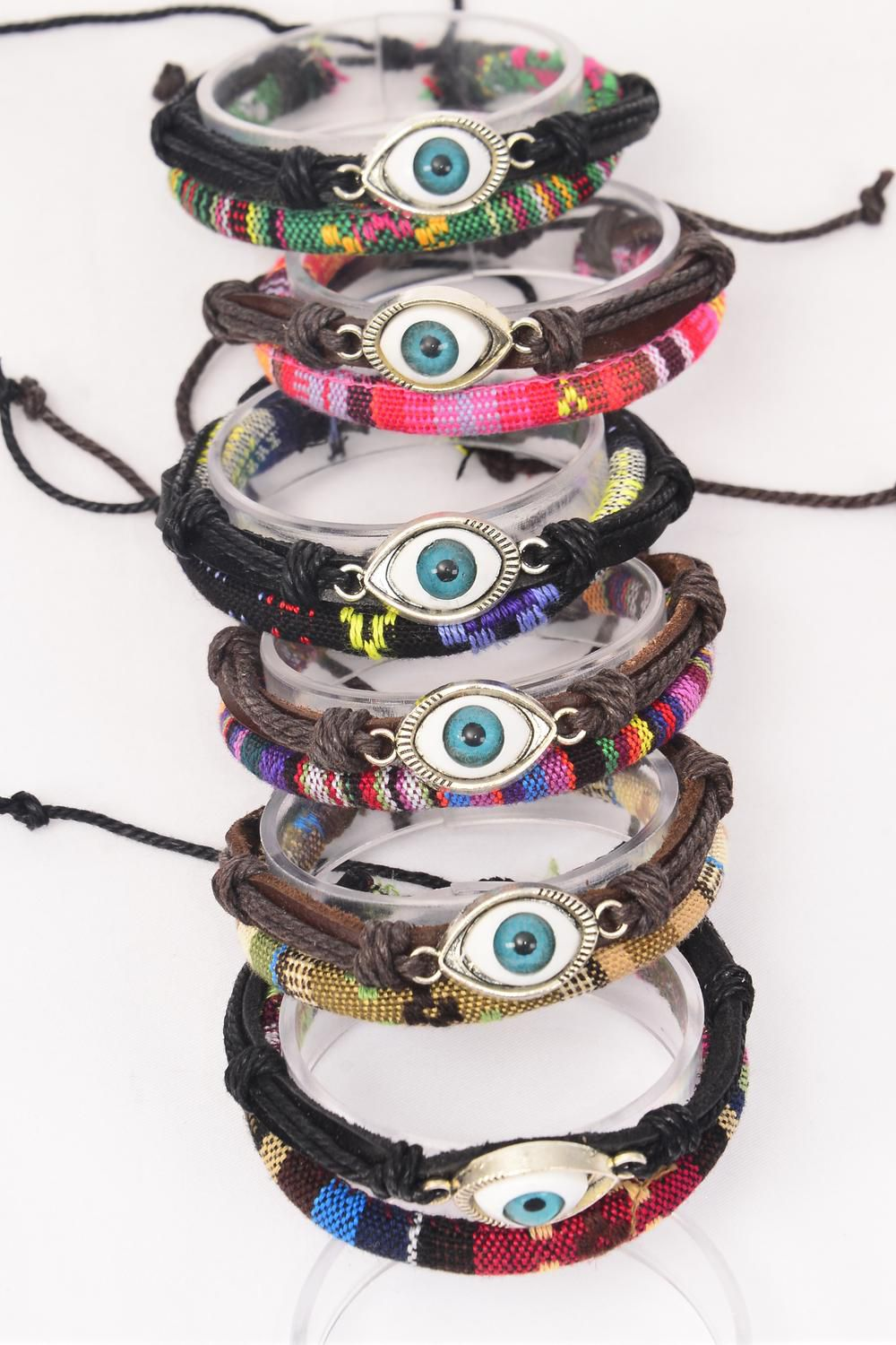 Bracelet Leather Evil Eye & Macrame Wrap Mix Adjustable/DZ **Unisex** Adjustable,2 of each Color Mix,Individual Hang tag & OPP Bag & UPC Code