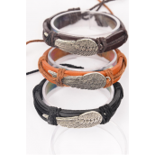 Bracelet Real leather Band Wing Adjustable/DZ **Unisex** Adjustable,4 of each Color Mix,Hang tag & OPP Bag & UPC Code