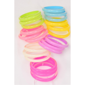 "Bangles 3 pcs Poly Cateye/DZ Size-2.75"" Dia Wide,Choose Colors,Hang Tag & OPP bag & UPC Code,3 pcs per card,12 card=Dozen"