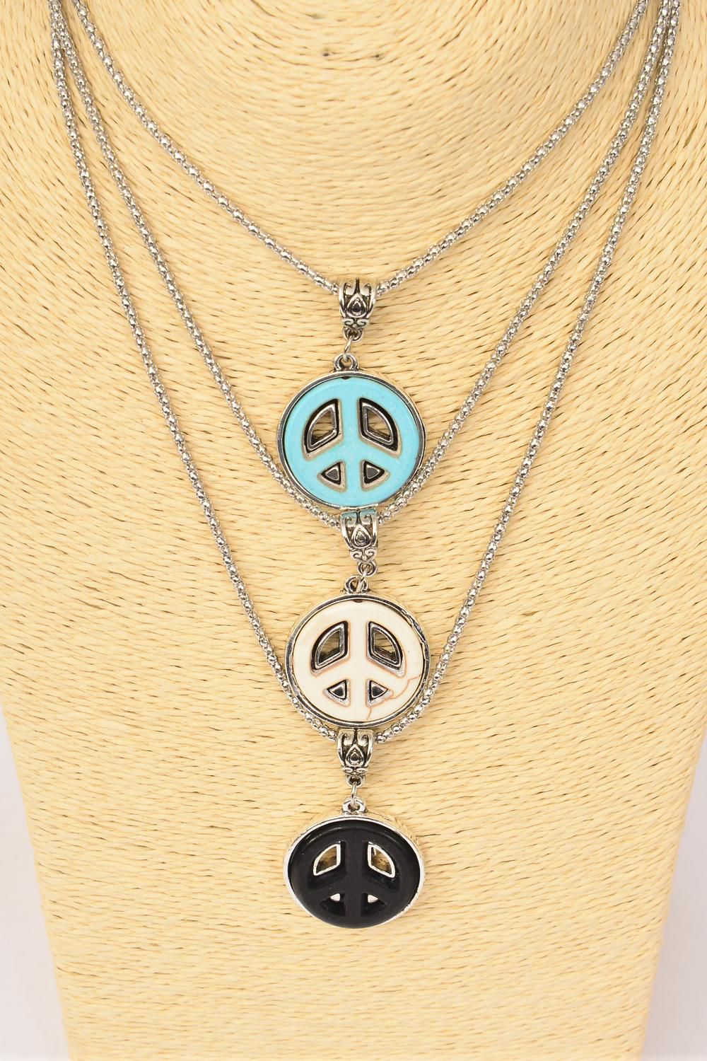 "Necklace Silver Chain Peace Sign Semiprecious Stone/DZ Pendant-1.25"" Wide,Chain-18"" Extension Chain,4 Ivory,4 Black,4 Turquoise Asst,Hang Tag & OPP Bag & UPC Code"