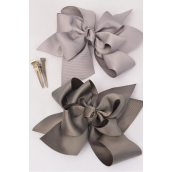 "Hair Bow Jumbo Double Layer Bow Gray Mix Grosgrain Bow-tie/DZ **Gray Mix** Size-6""x 6"" Wide,6 of each Color Asst,Clip Strip & UPC Code"