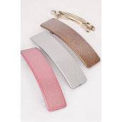 Hair Clip 11.5 cm Glitter Gold Silver Pink Asst/DZ **French Clip** Size-11.5 cm x 3 cm Wide,4 of each Color Asst,Hang Card & Individual OPP Bag & UPC Code