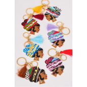 "Key Chain Ethnic Wood Tassel Key Holder Color Asst/DZ Face Size-.5"" x 2"" Wide,2 of each Color Asst,Hang Tag & OPP Bag & UPC Code -"