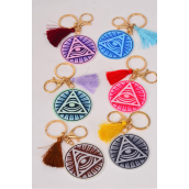 "Key Chain Wood Evil Eye/DZ Size-2.25"" Wide,2 of each Color Asst,Hang Tag & OPP Bag & UPC Code"