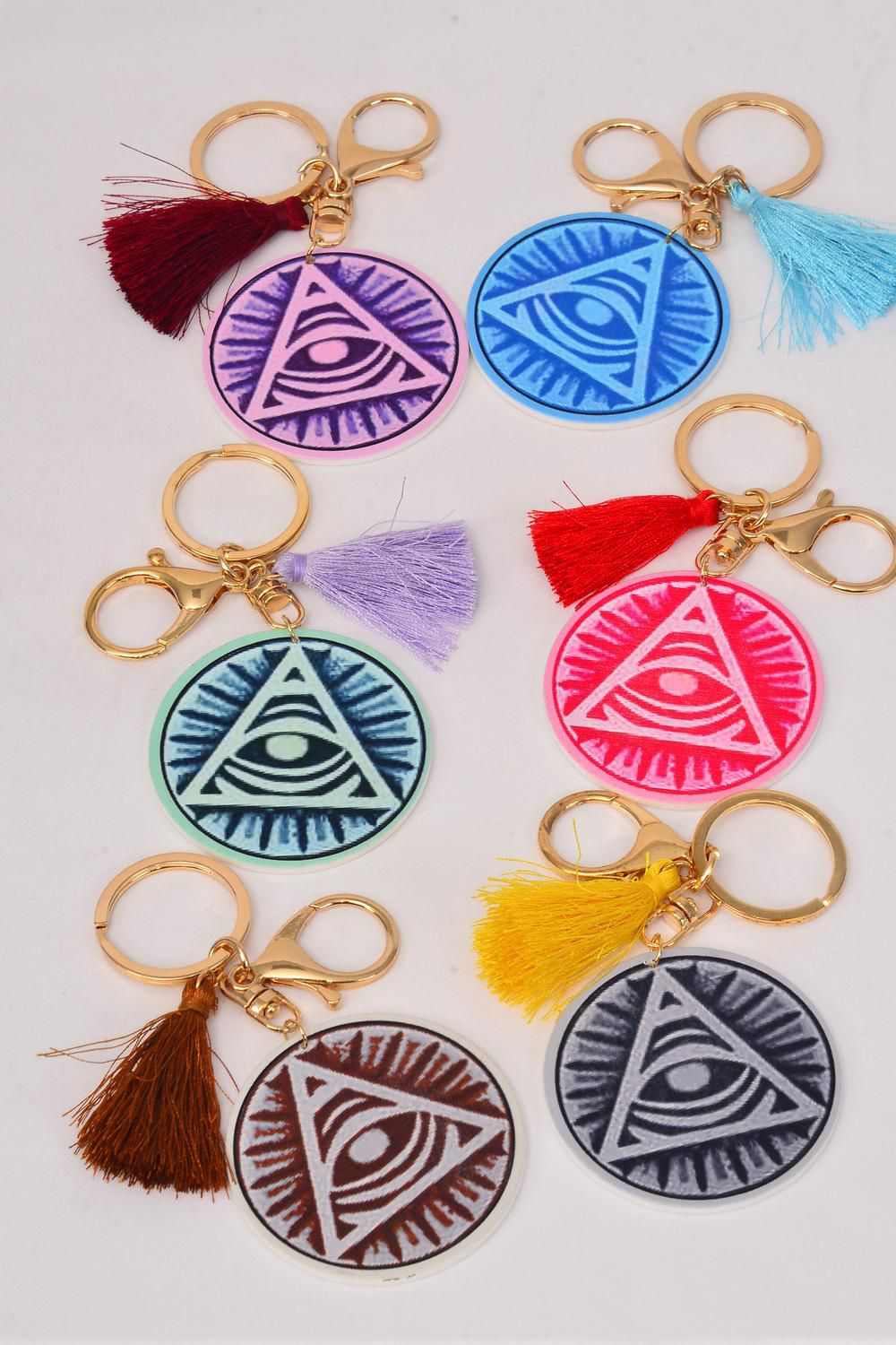 "Key Chain Wood Evil Eye Good luck and Protection Tessel Multi/DZ **Multi** Size-2.25"" Wide,2 of each Color Asst,Hang Tag & OPP Bag & UPC Code"