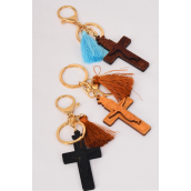 "Key Chain Wood Cross Crucifix/DZ Cross-Size-3.5""x 1.5"" Wide,4 of each Color Asst,Hang Tag & OPP Bag & UPC Code"
