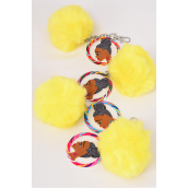 "Key Chain Pom Pom Ethnic Color Asst/DZ Pom Pom- Size-3.5"" Wide,Face-2.25"",3 of each Color Asst,Hang Tag  & UPC Code"