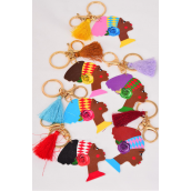"Key Chain Ethnic Nephertite Wood Tassel Color Asst/DZ Face- 2.5""x 1.5"",Size-24"" Long,2 of each Color Asst,Hang Tag & OPP Bag & UPC Code"