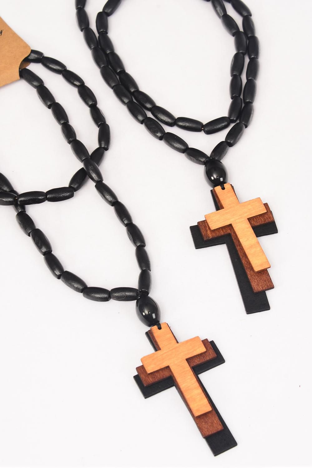 "Necklace Beads Wood Triple Cross Color Asst/DZ Cross-3""x 1.75"",Size-24"" Long,Hang Tag & OPP Bag & UPC Code"