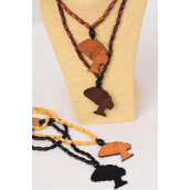 "Necklace Wooden Beads Nephrotite/DZ Face-2.5""x 1.5"",Size-24"" Long,3 of each Color Asst,Hang Tag & OPP Bag & UPC Code"