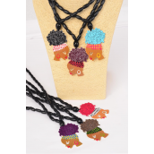 "Necklace Wooden Beads Ethnic Color Asst/DZ Face Size-2.75""x 1.75"", 24"" Long,2 of each Color Asst,Hang Tag & OPP Bag & UPC Code"