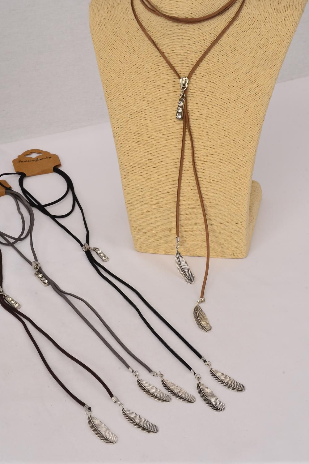 Necklace Faux Suede Cord String Wrap Bolo Tie Choker Rhinestone Zip Feathers/DZ **Multi** 3 Black,3 Brown,3 Gray,3 White,4 Color Asst,Display Card & OPP Bag & UPC Code