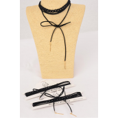"Necklace Choker 24 pcs Black Lace & Faux Suede Bolo Wrap Metal Accent On Bottom/DZ Lace Size-14"" Extension Chain,6 Gold,6 Silver Asst,Display Card & OPP Bag & UPC Code,2 pcs per Card,12 Card= Dozen"